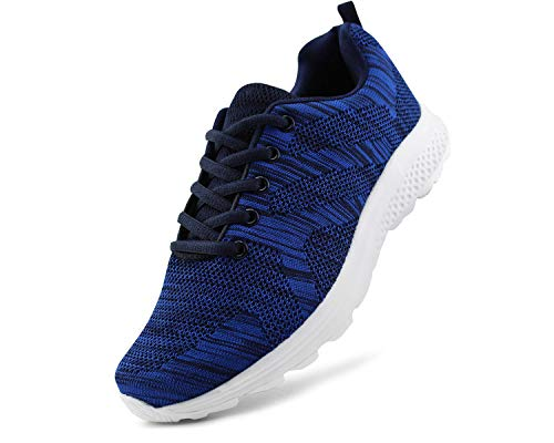 JABASIC Women's Breathable Knit Sports Running Shoes Casual Walking Sneaker (8 B(M) US, Navy-1)
