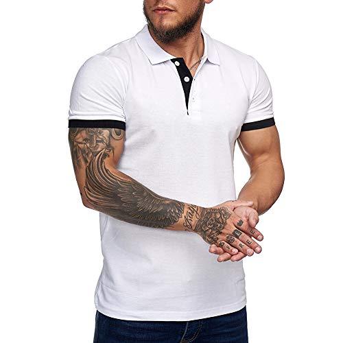 Zuoyouzi Men's Short Sleeve Casual Slim Fit Polo Shirts Basic Designed Classic Cut Cotton Shirts (Yellow, XX-Large)