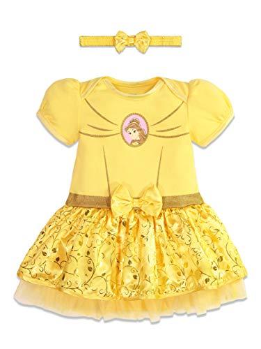 Disney Princess Belle Baby Girls Costume Bodysuit Dress Headband 6-12 Months