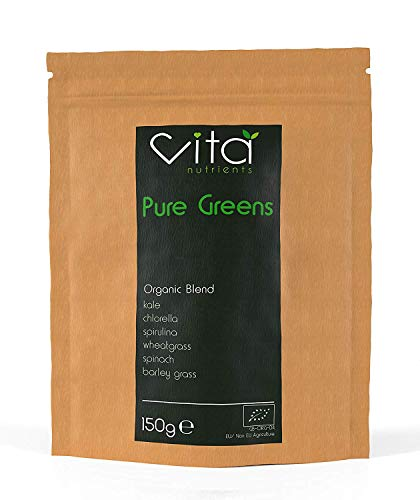 Vita Nutrients | Pure Greens | Premium Organic Superfood Powder Blend 150g | Vegan & Gluten Free | 6 Plant Based Supergreens, Rich in Vitamins, Minerals and Fibre | Made in The UK