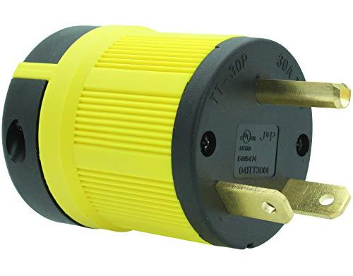 Journeyman-Pro NEMA TT-30P, 30 Amp, 125 Volt, Straight Blade Male RV Trailer Plug Connector, Black/Yellow Industrial Grade, Grounding 3750 Watts Generator TT30 (TT30P-YELLOW)
