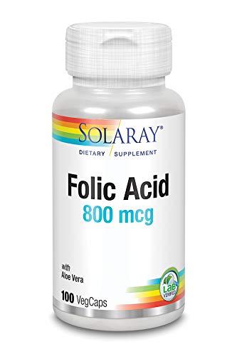 Solaray Folic Acid 800mcg | Ácido fólico I 100 VegCaps