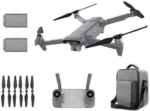 FIMI X8 SE 2020 Kit de dron de diseño plegable 8 km Alcance Cámara 4K UHD 100 Mbp Vídeo HDR 35 minutos Tiempo de vuelo FlyCam Quadcopter UAV Seguimiento GPS (gris-2 Batería+ bolsa de transporte)