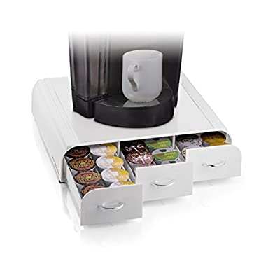Mind Reader 36 Capacity 'Anchor' Triple Drawer K-Cup, Dolce Gusto, CBTL, Verismo, Single Serve Coffee Pod Holder Drawer, White