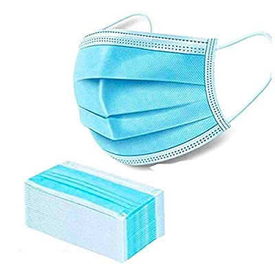 Medical Mask Disposable Face Mask (Blue-50Pcs) Professional 3-Layer Anti Dust Breathable Earloop Mouth Mask, Comfortable Sanitary Surgical Mask for Dust, Protection and Personal Health