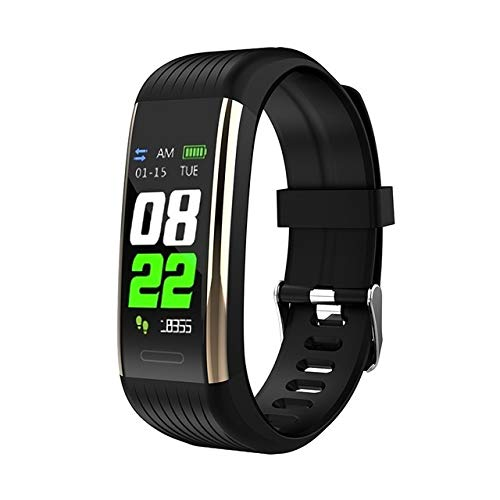 OYPY R1 Bluetooth Smart-Armband-Band-Pedometer-Monitor Blutdruck Fitness Tracker wasserdichte Smartband Armband (Farbe : Black Gold R1)