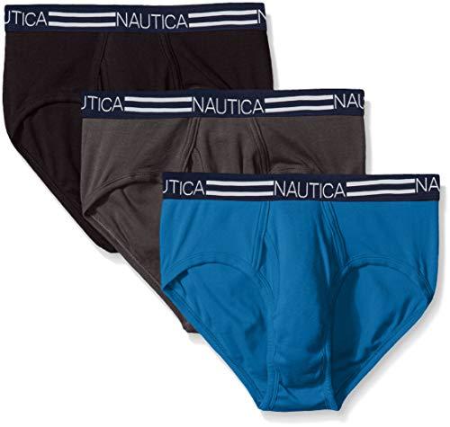 Nautica Men's Comfort Cotton Underwear Fly Front Brief-Multi Pack, Black/Charcoal/Capri Blue-08207, L
