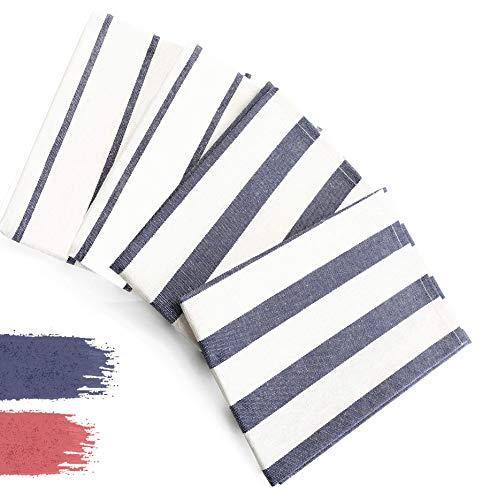 DIVORY 4er Set Geschirrtücher | 100% Baumwolle | 40x60 cm | blau weiß | gestreift | Küchentücher | Geschirrhandtücher | Trockentücher | Küche & Gastronomie Geschirrtuch (Blau/Weiß, 40 x 60 cm)