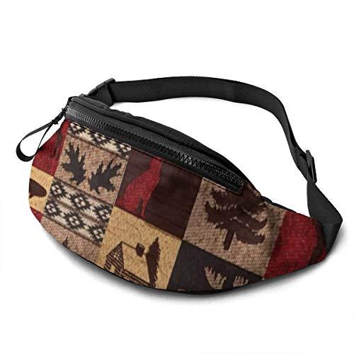 AOOEDM Lodge Bear Deer Fish Printed Waist Bag, Fashion Travel Lightweight Belt Bag Adjustable Sports Running Waist Bag