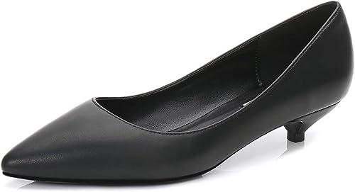 Soulength Kitten Heels para damen Punta Dedos de Gran tamaño para damen Bombas Antideslizantes Suela de Goma Sexy Elegante y cómoda schuhe Individuales 34-43EU