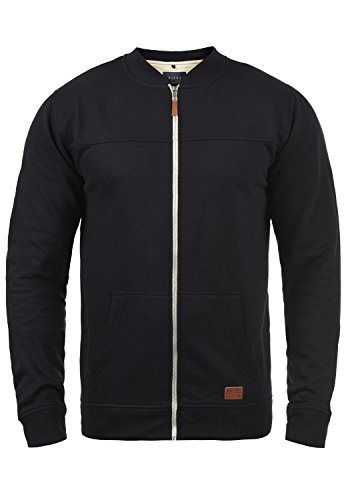 Blend Arco Herren Sweatjacke Collegejacke Cardigan Jacke mit Kurzem Stehkragen, Größe:XXL, Farbe:Black (70155)