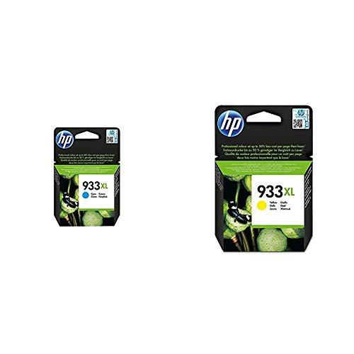 HP CN054AE 933XL Cartucho de Tinta Original de Alto Rendimiento, 1 Unidad, Cian + CN056AE 933XL Cartucho de Tinta Original de Alto Rendimiento, 1 Unidad, Amarillo