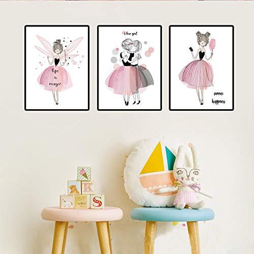 kldfig schattige cartoon klein meisje canvas schilderij roze dromen prinses kamer afbeelding decoratie woonkamer veranda decor 20 * 30 cm niet ingelijst-3 stuks