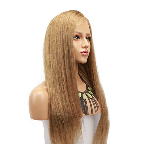 Dreambeauty #18 Pure Blonde Color Lace Front Human Hair Wig for Women Brazilian Remy Glueless Full Lace Human Hair Wig with Baby Hair Pre-Plucked Natural Hairline (18 inch, Lace Front)
