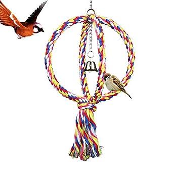 LeerKing Jouets Oiseaux avec Clochette Jouets à Mâcher pour Perroquet Corde Escalade en Coton Parrot Ajustable Jouets pour Perruche Conure Callopsite en Spinal et en Anneau Diamètre de 17cm