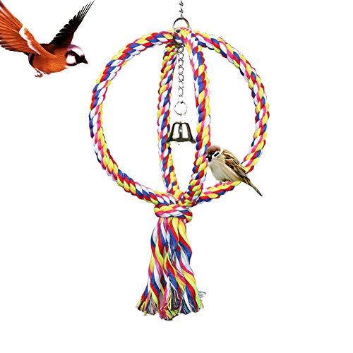 LeerKing Vogelspielzeug Papageien Schaukel Vogelseil Wellensittiche Kletterseil Leiter Stangen für Vogelkäfig Garten und Fenster Kugel