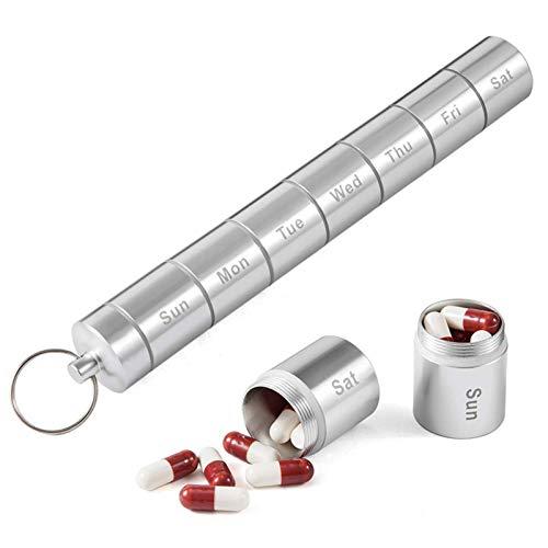 Pastillero De Estilo japonés de la píldora de la Caja sellada se Puede reutilizar portátil dispensador semanal de la píldora Mini aleación de Aluminio de Metal Caja de la píldora for el Recorrido del