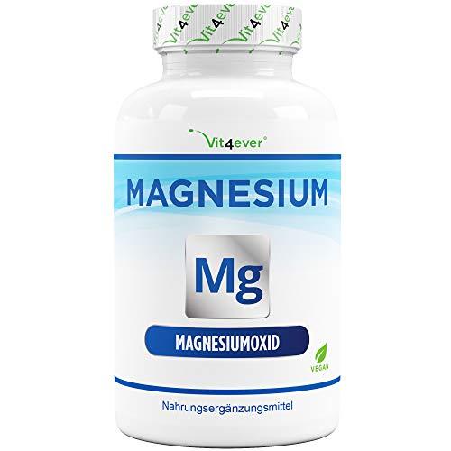 Magnesium - 365 Kapseln (12 Monate) - 665 mg je Kapsel, davon von 400 mg elementares Magnesium - Laborgeprüft - Hochdosiert - Ohne unerwünschte Zusätze - Vegan