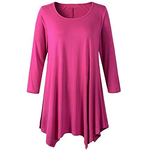 Hemd Damen Elegant Rundhals Langarm Einfarbig Irregular Hem Langer Vintage Locker Stretch T Shirt Casual Sweatshirt Herbst Neu Leichtes Atmungsaktives Sport Shirt Top XL
