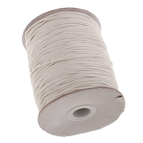 Sharplace Cordón De Algodón Encerado 1.5 Mm para Bolsas Cordones De Hilo De Coser Artesanal De Cuero - Beige, Individual - Beige, Individual
