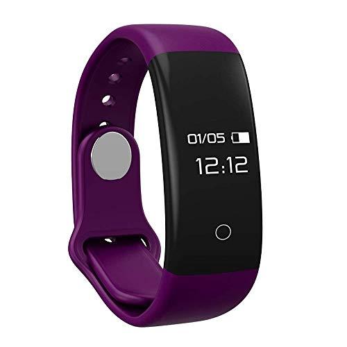 M-znsh Smart Pulsera de sueño, Seguimiento de la Actividad Reloj con Monitor de frecuencia cardíaca Monitor podómetro Reloj, Fitness Tracker Impermeable (Color : Purple)