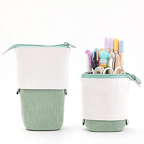 Estuche Retractable para lápices, bolsa de teléfono, estuche para lápices, estuche para lápices, bolsa de pie, bolsa de gran capacidad, estuche de tela (verde)