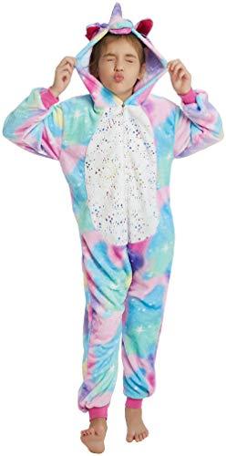 Sunbaby Kinder Cosplay Pyjamas Einhorn Jumpsuits Kostüm Kinder Karneval Cosplay Kostüme (Heißpräge-Einhorn, 130/Höhe 126-135)