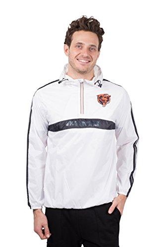 Ultra Game NFL Chicago Bears Mens Quarter Zip Pullover Hoodie Packable Windbreaker Jacket, White, X-Large