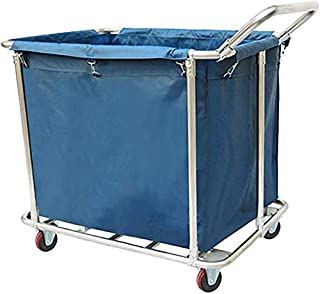 JCY Laundry Basket, Laundry Trolley, 1 with Handle, Home Clothes Storage Hamper Band Rolling Wheels (Color : Blue, Size : 6 Tube)