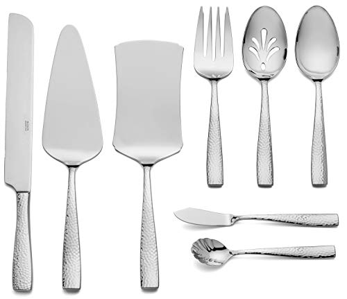 Hudson Essentials 8-Piece Hammered 18/10 Stainless Steel Serving Utensil Set - Hostess Silverware with Cake Knife
