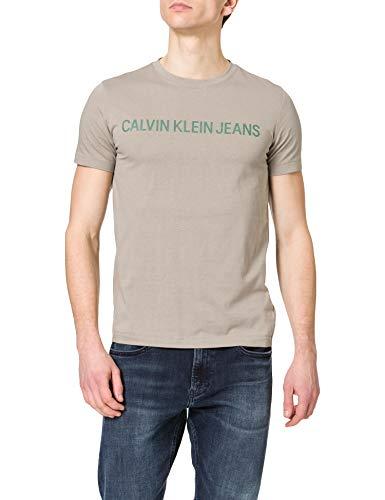 Calvin Klein Jeans Herren Institutional Logo Slim Ss Tee T-Shirt, Elefantenhaut, L