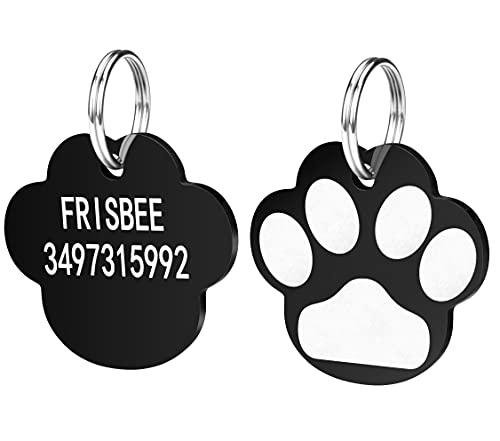 Gravierte Hundemarke, Katzenmarke, beidseitig graviert, Namensschilder für Kätzchen, Welpen, Haustiere, mit Telefonnummer, , Verschiedene Formen , 2Farben, Personalisierbar (Dog Paw Shape)