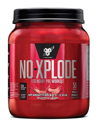 BSN N.O.-Xplode Pre Workout Booster, Energy Drink mit Creatin, Vitamin C, Vitamin D, Vitamin B Komplex, Arginin, Koffein und Beta Alanin, Fruit Punch, 50 Portionen, 1kg