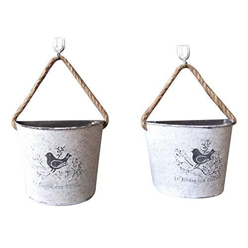 NIUXICH 2 macetas colgantes de metal vintage para colgar flores, macetas colgantes de metal y hierro para barandilla, valla, balcón, jardín, decoración del hogar