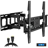 Full Motion TV Wall Mount with Height Setting, JUSTSTONE TV Bracket Fits Most 27-65 Inch LED Flat&Curved TVs,Articulating Swivel Tilt Dual Arms Extension Max VESA 400x400mm and Holds up to 121 LBS