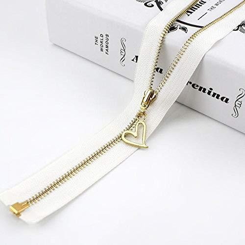 2/5 piezas 40/50/60/70 cm 3# cremallera de metal extremo abierto dientes dorados cierre de cremallera para coser bolso bolso abajo chaqueta falda accesorio de ropa ZA035-blanco, 70 cm, 2 piezas