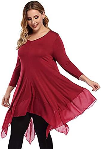 SLYZ Primavera Mujeres De Gran Tamaño Color Puro Manga Larga Cuello Alto Cuello Redondo Costura Túnica Top Camiseta Mujer Top