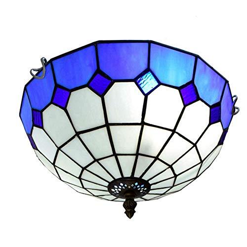 GUOSHUCHE Lámpara de techo Tiffany, 12 pulgadas, lámpara de techo estilo mediterráneo, azul a cuadros, para dormitorio, restaurante, café, Tiffany, lámparas de techo, decoración