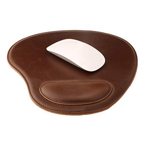 Londo Leder Oval Mouse Pad mit Handgelenkauflage (Dunkelbraun)