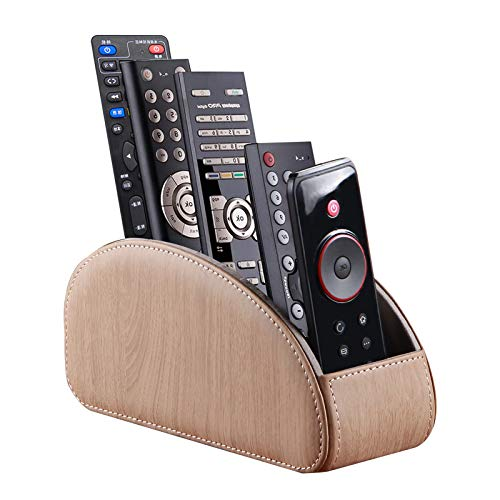 Leather Remote Caddy, Remote Control Holder Desktop Organizer, Streamlined Edge Design, with 5 Delicate Compartments for Storing TV, DVD, Blu-ray, Media Player, Heater Controller, etc