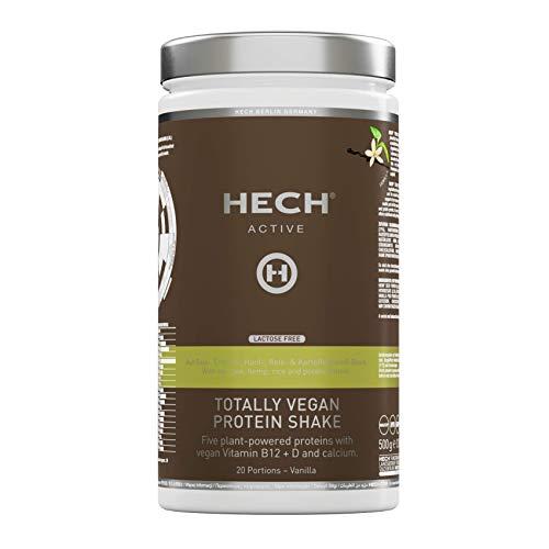 HECH ACTIVE Totally Vegan Protein Shake Vanilla, pflanzliches Eiweißpulver, mit veganen Vitaminen B12, D & Calcium, extra cremige Konsistenz, laktosefrei, 500 g