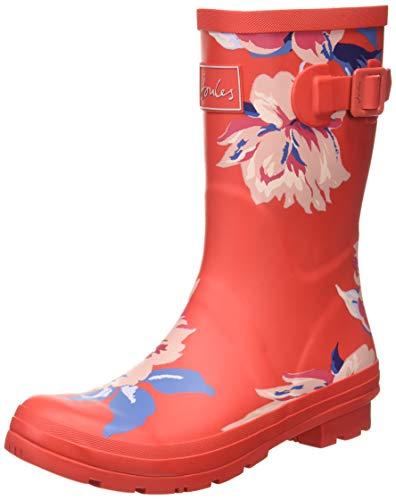 Joules Molly Welly, Botte de pluie Femme, Rouge sur L39 Ensemble Multicolore Floral, 43 EU