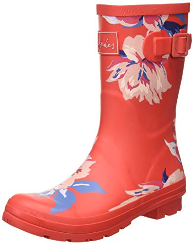 Joules Women's Molly Welly Rain Boot, Red All Over Floral, 8