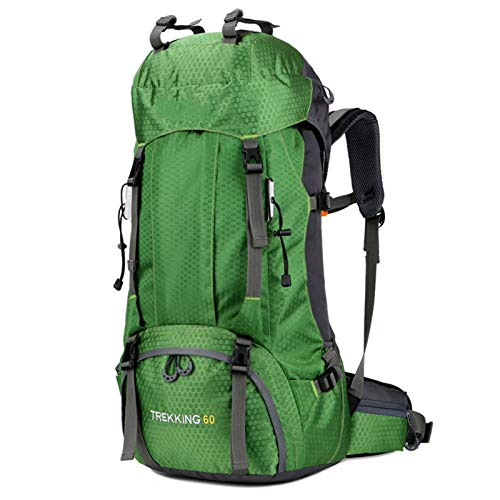 DFSDG Large capacity water repellent 60L hiking bag outdoor sports backpack hiking with rain cover shoulder bag (Color : Green)