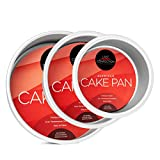 """3 piece set includes: 4"""" x 2"""", 6"""" x 2"""" and 8"""" x 2"""" Cake Pans Superior heat distribution: Extra thick, seamless even-wall construction creates superb heat distribution for your batter ensuring your cake rises both level and flat. These professional-qu..."""