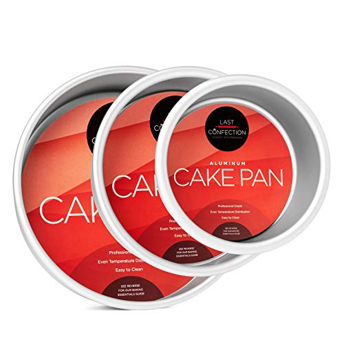 "Last Confection 3-Piece Round Cake Pan Set - Includes 4"", 6"" and 8"" Aluminum Pans - 2"" Deep"