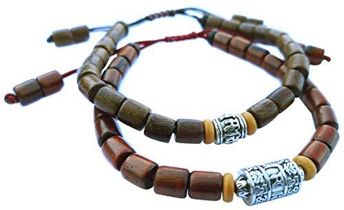 Lucky Buddhist Tibetan Lucky Bracelet + Colgante/Collar! - Para hombres y mujeres - Pulseras trenzadas de la amistad - Pulsera Mantra de madera Om Mani Padme Hum (Madera Rojiza, Madera Marrón)
