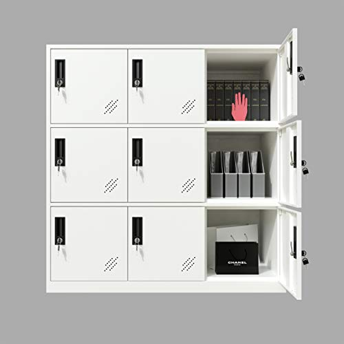 Full White Color Metal Office and Home Storage Cabinet Locker with 9 Doors Thin Edge Beautiful Appearance (Full White, 9D)
