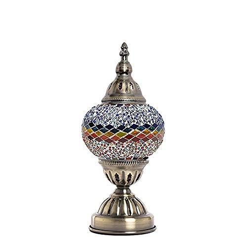 Lámparas de mesa retro mediterráneas para la habitación de la habitación de la habitación de la habitación de la habitación del dormitorio Lámparas de la mesa de la mesa de cristal turco Mosaico de vi
