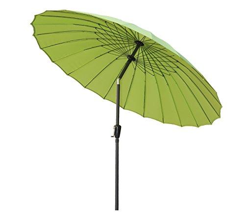 Angel Living 250cm Parasol de Acero y Aluminio de Jardín con Manivela, Sombrilla Inclinada muy Estado con Mástil de Diamentro de 38mm, para Jardín Patío Terraza (Manzana verde)